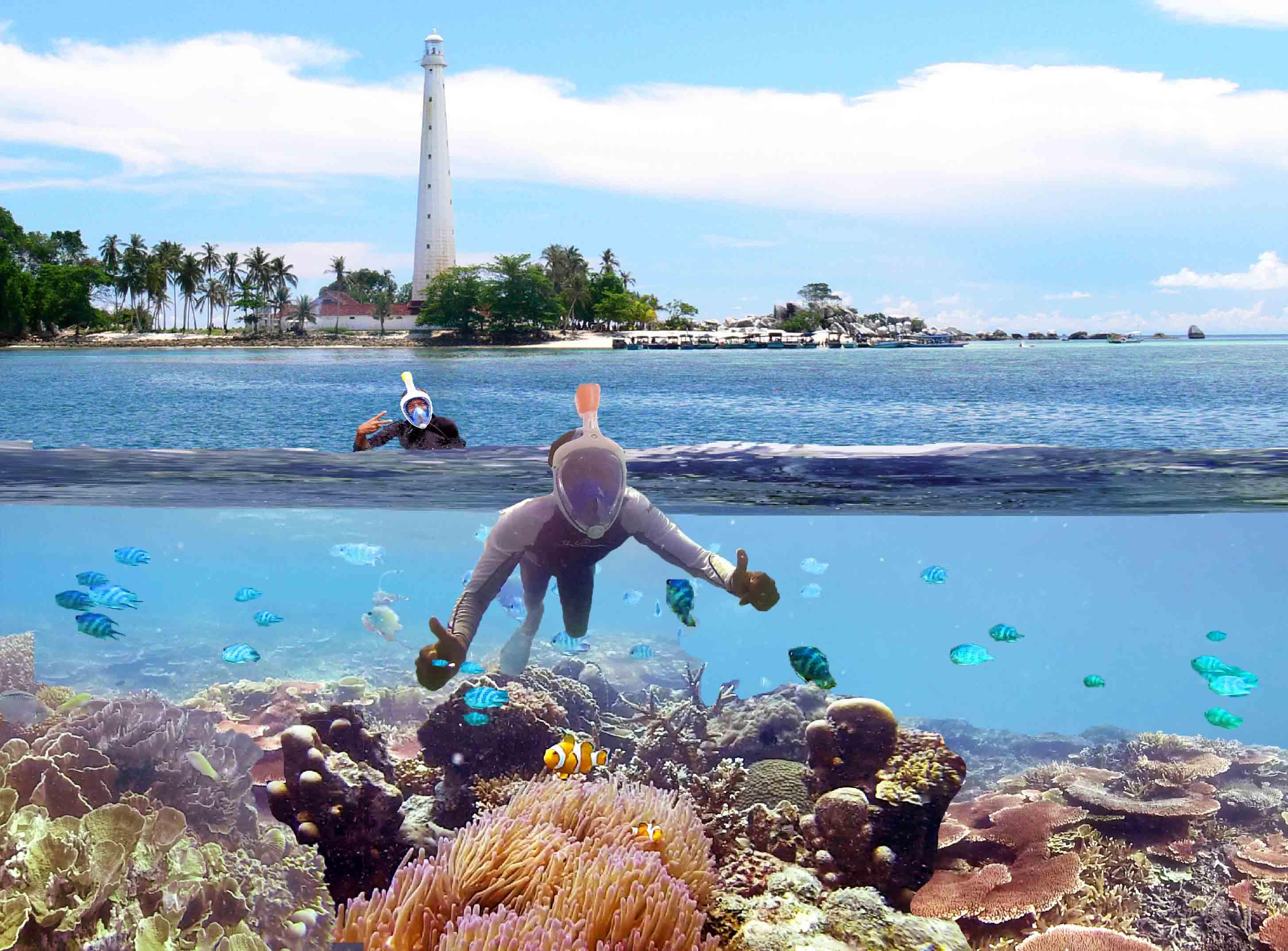 mask snorkling intégral Belitung Indonésie